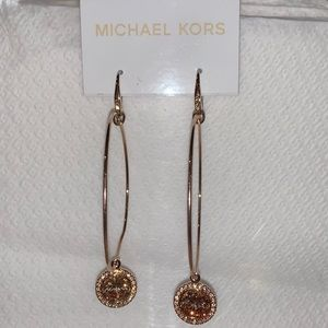 Michale Kors rose gold diamond hoop earrings NWT